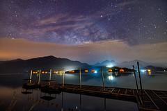 日月潭.蔣公碼頭~雲河銀河~ 新年快樂 Sun moon lake Milkyway (Shang-fu Dai) Tags: 台灣 taiwan 日月潭 南投 魚池 nikon d800e sunrise sky landscape formosa 碼頭 蔣公碼頭 sunmoonlake clouds night scene starry 銀河 milkyway galaxy 夜景