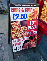 Turkish Grill, Manchester, UK (Robby Virus) Tags: manchester england uk unitedkingdom britain greatbritain turkish grill restaurant food chips curry pizza perigrilled chicken aboard sign signage