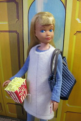 At the movies (Foxy Belle) Tags: skipper doll handmade felt clothing sew diy vintage little sister winter leggings boots recycled bag tote jumper