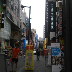 Myeongdong Street (alisaschen) Tags: 명동 myeongdong street snapshot line friends iope giordano mlb signs store view seoul korea 서울 한국