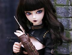 Assassin (pure_embers) Tags: angel philia sizuka pink drops obitsu48 emberssiren siren uk england doll dolls pure laura embers pureembers girl black hair assassin outfit azone dark game ball joint bjd