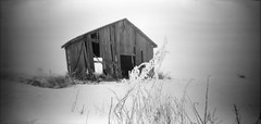 ..and the barn is still standing.. (Foide) Tags: pinhole lochkamera noon612 barn winter snow