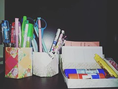 Organizing with Origami (wunderkindlucy) Tags: pencilholder deskorganizer origami aitoh chiyogamipaper fusetomoko oldcalendar paperkawaii scrapbookpaper 종이접기 おりがみ入れ物いろいろ