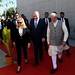 PM Netanyahu and his wife Sarah visit a technological exhibition, accompanied by India's PM Modi