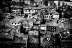 Sienese puzzle (madmtbmax) Tags: italy italian sienese nikon black white schwarz weiis bianco nero blanco negro zwart wit svart vit musta valko city town old aerial alley roof roofs above luminar d700 50mm siena orton effect buildings houses stone walls tiles