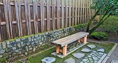 Meditation Bench (creepingvinesimages) Tags: hbm bench meditation portlandjapanesegarden bamboo fence green outdoors oregon samsung pse14 topaz
