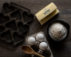 Getting a Jump on Valentine's Day (lclower19) Tags: odc castiron heart butter eggs flour wood spoon