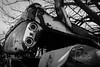 Desoto Dilapidation (Karl Outdoor Photography) Tags: wreck old rural chrysler blackwhite chrome photography smashed car alberta dilapidated canada desoto crash taber blackandwhite abandoned