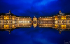 Place De La Bourse (Laruse Junior) Tags: 5d canon mark iv mk france bordeaux travel voyage place de la bourse night blue hour light architecture architectural mirror reflect