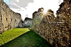 Eynsford Castle (Geoff Henson) Tags: castle walls grass sun sunburst shade clouds medieval norman saxon