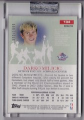 2003-04 Topps Pristine Refractors #104 Darko Milicic uncirculated RC #'d 1322:1999 2 (hoosierdealer) Tags: 200304 topps pristine basketball refractor serial numbered d uncirculated rookie rc ry