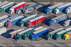 Truck Parking Lot (Aerial Photography) Tags: by opf r 1ds82373 24022014 bmwwerk harting lkw lkwparkplatz lastkraftwagen lastwagen muster parkplatz regensburg reihe reihen verkehr alignment bunt coloured line row rows traffic bayernbavaria deutschlandgermany deu