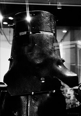 mask (amazingstoker) Tags: ned kelly melbourne armour victoria australia monochrome black white iron plough share library exhibit helmet folkhero mask