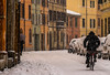 no matter what's the weather like for bike ride (lucafabbricesena) Tags: snow street cesena emiliaromagna italia bike ride nikon d800 city storm cyclist building architecture corsocomandini winter pastelcolored neve neige snowyscenery weather softcolors