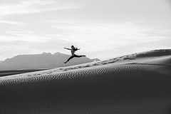 Lily Chen at White Sands (Mitch Tillison Photography) Tags: beautiful stunning fit fitness leaping leap dunes outdoors monochrome bw energy joy newmexico southwest monument park mitchtillison photo photography nikon d810