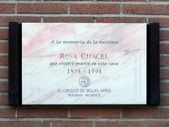 Placa Conmemorativa. Rosa Chacel (Madrid) (Juan Alcor) Tags: generaciondel27 madrid españa spain placa conmemorativa rosachacel circulodebellasartes