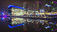 Happiest day of my life! (G-WWBB) Tags: thequays salfordquays mediacityuk mediacity mediacityfootbridge bbc holidayinn itv thestudios studios longexposure long exposure canon6d canon 6d colours lights cityscape architecture buildings waterfront water waterside pink blue salford night happy happiness