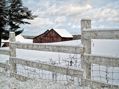 ... (Jean S..) Tags: landscape fence barn rural snow winter clouds sky blue red white ulverton