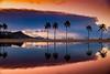 Sunrise At Duke Kahanamoku Lagoon at Hilton Hawaiian Village Diamond Head Hawaii (Anthony Quintano) Tags: diamondhead hiltonhawaiianvillage dukekahanamokulagoon waikiki honolulu hawaii sunrise stormclouds palmtrees reflection travelphotography