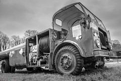 AEC Mercury MkV Aircraft Fueller (Andrew Bloomfield Photography) Tags: brooklandsmuseum andrewbloomfieldphotography blackandwhite fujifilm hdr outdoor truck aecmercurymkvaircraftfueller aec mercury mkv fuel tanker ruin brooklands museum