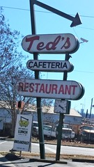 Teds Restaurant sign (dwheel41) Tags: sign signs old vintage roadside teds restaurant arrow cafeteria clock