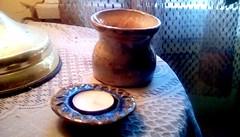 Handmade pottery! 365/97 (Maenette1) Tags: pottery handmade candleholder vase gift menominee uppermichigan flicker365 michiganfavorites project365