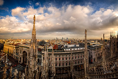 Duomo Panoramic (Riccardo Maria Mantero) Tags: clouds mantero riccardomantero riccardomariamantero sunsrise architecture cathedral city duomo italy landscape milano outdoors sky urban