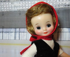 On the ice (Foxy Belle) Tags: vintage doll betsy mccall ice skate skating rink felt skirt red white black original tiny hard plastic 1950s diorama scene winter sport