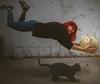 Caída [7/52] (A L R O E S) Tags: caída falling fall girl cat world levitate levitation levitación levitar gato lupin mundo globo mapamundi bola ball