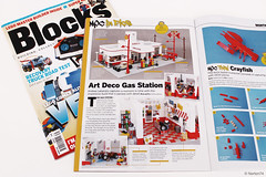 Blocks # 39 - January 2018 - featuring the Art Déco Gas Station (Andrea Lattanzio) Tags: blocks magazine gasstation artdeco lego garage