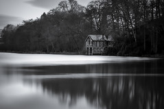Boathouse on Manor Pool (Alan E Taylor) Tags: atmospheric bw blackwhite blackandwhite boathouse countryside dark dramatic england europe fineart le lake landscape leebigstopper lightroom listedbuilding longexposure macphun macphunsnaphealck macphuntonalityck madeley mono monochrome nature noiretblanc rural skylum staffordshire uk unitedkingdom water britain british picturesque scenic gb