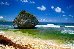 Bathsheba Rock in Barbados (` Toshio ') Tags: toshio barbados bathshebabeach bathshebarock beach sand waves surf clouds island caribbean oceal sea seaweed fujixt2 xt2 rock mushroomrock