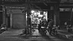 Night Cafe (VIETNAM) (ID Hearn Mackinnon) Tags: cafe black white monochrome 2016 late night hanoi ha noi vietnam vietnamese viet south east asia asian people culture eating restaurant eatery dining