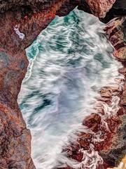 Intruding waves (madbesl) Tags: wellen waves meer sea water lanzarote loshervideros canaryislands kanarischeinseln lavagestein höhle cave hdr photomatix olympus omd em10 m10 omdem10 zuiko1250