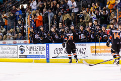 "Kansas City Mavericks vs. Allen Americans, February 24, 2018, Silverstein Eye Centers Arena, Independence, Missouri.  Photo: © John Howe / Howe Creative Photography, all rights reserved 2018 • <a style=""font-size:0.8em;"" href=""http://www.flickr.com/photos/134016632@N02/39790818754/"" target=""_blank"">View on Flickr</a>"