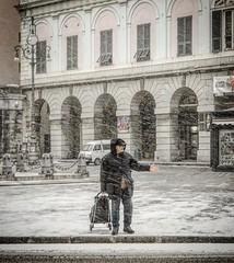 """The Snowstorm"" (giannipaoloziliani) Tags: walking bufera raw place streetcapture genova genoa streetlife streetphotography liguria neve city photooftheday deferrari piazzadeferrari italy italia iphone iphonephotography snowstorm storm snow"