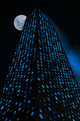 Argo with a Moon (Jacob Surland) Tags: argo architecture art blue bluelight building caughtinpixels city cityscape colors country denmark energitårnet fineart fineartphotography industry jacobsurland kara light night time
