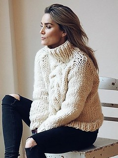 Sexy girlfriend in cabled turtleneck outfit