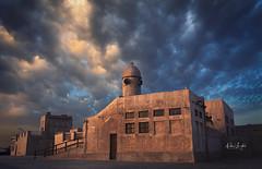 Calling! (Nabeel Iqbal) Tags: calling mosque masjid al wakra wakrah souq waqif bazaar market sunrise clouds rains coming colors fiery warm landscape architecture canon camera 6d 1740mm lens photography qatar doha