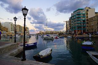 St Julian's marina by sunset, Malta