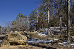 Snow, Rocks, and Trees (Thomas Vasas Photography) Tags: landscapes winterscapes snowscapes travel scenics rockscapes winter snow trees rocks weather flatrockpark columbus georgia