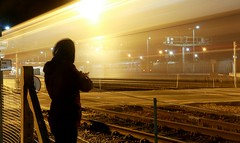 // (feebzafilia) Tags: trains train station time night late shoot photography aslevel passing brother lights long exposure lonely