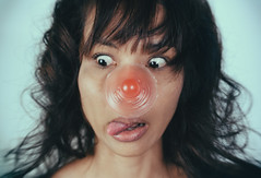 tIT (Instagram : _polod_) Tags: acne spot centered weird portrait strange asian girl woman titty prosthesis prosthetic close up film look analog sticker stick her wince funny face controversial social media rules censure provocative silicone womans right