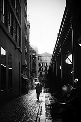 Morning Light (elgunto) Tags: street barcelona people mercat market reflection light morning contrast shadows blackwhite silhouette monochrome sunray sonya7 pentax 40mm28 manuallense pancake