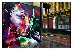 STREET ART by MR.CENZ (StockCarPete) Tags: mrcenz streetart londonstreetart urbanart graffiti shoreditchart london uk women female wet pavement wetpavement signage