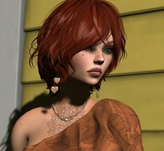 Pensive (cejalaval) Tags: secondlife sl style redhead realevil freckles firestorm greeneyes laq ikon shadows tattoo tonic avatar headshot portrait argrace closeup dselles kungler mesh slphotography