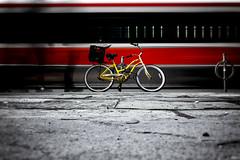 Stationary (Paul Flynn (Toronto)) Tags: streetcar street car toronto downtown tracks bicycle motion long exposure city kingstreetwest traffic people blur sony