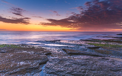 Sunrise Seascape and Rock Platform (Merrillie) Tags: daybreak theskillion nature water terrigal nsw rocky sea clouds newsouthwales rocks earlymorning morning landscape centralcoast ocean australia sunrise waterscape coastal outdoors sky seascape dawn coast cloudy waves