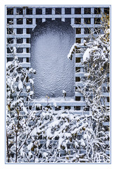 The artistry of snow and cold (TAC.Photography) Tags: trellis winter screen cold art nature artsy blue softcolors colors soft framed photograph photo tomclark tacphotography d7100 tomclarkphotographycom