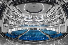 Belk in Black and White (Kevin.Riggall) Tags: blue blackandwhite black white theatre chandelier auditorium